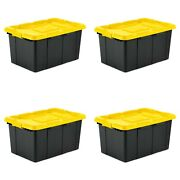 4-pack Large 27 Gallon Tote Stackable Plastic Storage Container Bin Organizer