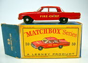 Matchbox 1-75 Series No. 59b Fire Chief Car With 55 Police Car Base In D Box