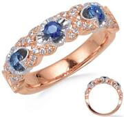 1.11ct Diamond And Aaa Sapphire 14k White And Rose Gold Round 4 Leaf Clover Fun Ring