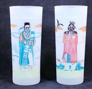 Two 2 Antique Famous Oklahoma Indian's Frosted Glass Tumblers Pawnee Comanche