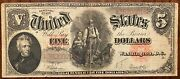 1907 5 Dollar Bill. Red Seal. Large Note.