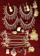 Vintage Lot Of 25 Christmas Tree Ornaments Victorian Tree Pink Decor And Beading