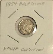 Collectible 1854 Liberty Seated Half Dime -- Xf To Vf Condition