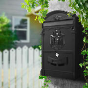 Large Vintage Mailbox Wall Mount Post Box Outdoor Locking Letter Post Box Mail