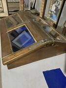 Antique Countertop Wood Glass Brass Display Case Lighted Double Doors Nautical