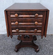 """Antique Empire Mahogany And Cherry Drop Leaf Sewing Table 29"""" X 18"""" X 24"""""""