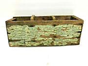 14 Antique Primitive Spiceor Candle Wall Hanging Box In Dry Green Paint