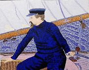 Paul Signac At The Helm Of Olympia 16 X 20 Acrylic On Board By Michael Byro
