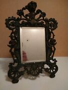 Antique Victorian Cast Iron Easel Picture Frame Mirror With Angels