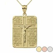 Solid 10k Yellow Gold The Lord's Our Father Prayer Crucifix Pendant Necklace