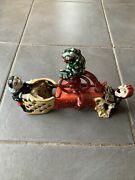 Cast Iron Mechanical Bank Moneybox Professor Pug Frogs Great Bicycle Feat