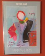"""Peter Max Poster To Ronni 1983 Dega Man Iii"""" 30x50cm Signed 1989 Lawrence Ross"""