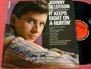 Johnny Tillotson It Keeps Right On A-hurtinand039 1962 Signed Lp. Nm-/nm-
