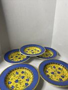 Furio 8.75andrdquo Round-soup Salad Bowls Blue Yellow Made In Italy Set Of 5
