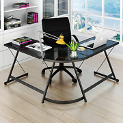 L-shaped Corner Computer Desk Home Office Glass Top Work Station Gaming Table