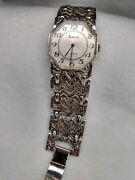 Geneva Watch Vintage 17 Jewels Silver Cuff Band Small - 7 Inches Slight Damage