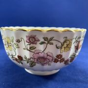 Spode Bone China Round Bowl Floral Tapestry Pattern 2.25 T Scalloped And Gold Rim
