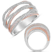 Large 1.62ct Diamond 14kt White And Rose Gold Multi Row Criss Cross Pave Love Ring