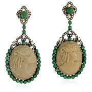 Carved Natural Cameo Emerald Drop/dangle Earrings 18k Gold 925 Silver Jewelry
