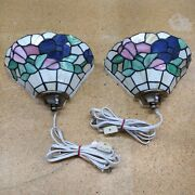 Lot Of 2 Style Stained Glass Wall Sconces Lamp Fixture Prestigeline