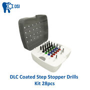 Dsi Dental Implant Surgical Dlc Coated Step Stopper Drill Bit Drills Kit 28pcs