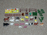 Vintage 1970s Grants Hong Kong Farm Set Lot Of 33 Animals And Accessories
