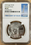 2018 1 Oz 100 Platinum American Eagle Ms70 Ngc First Day Of Issue