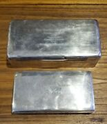 Lot Of 2 Golf Sterling Silver And Wood Humidor Golf Trophy Boxes 1929 And 1954