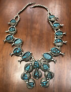 Vintage Navajo Indian Large Heavy Silver And Turquoise Squash Blossom Necklace
