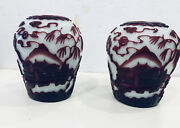 """Antique Pair Of Peking Glass Ruby Red On White Vases 5"""" Tall Each"""