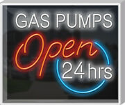 Outdoor Gas Pumps Neon Sign   Jantec   32 X 27   Gas Station Old Car Garage