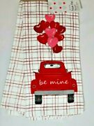 From The Heart Valentine Kitchen Towels 2-pc Be Mine Vintage Red Truck Balloons