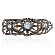 Pave Diamond Topaz Knuckle Long Ring 18k Gold 925 Silver Cocktail Ring Jewelry