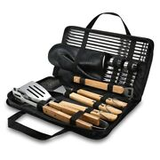 Outdoor Bbq Tools Set Grill Accessories Skewers Tongs Spade Brush Glove 23 Pcs
