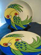 Fitz And Floyd Variations Dessert Plates/ Discontinued Parrot Design