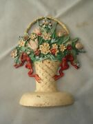 Cast Iron Flower Basket Door Stop, Cream Base Red Ribbons, Flowers Multi Colored