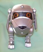 Vintage Tekno Quest Interactive Dog Silver Walks Barks Wags Tail Eyes Light Up
