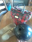 Vintage Brunswick Black Beauty Bowling Ball With Shoes And Plaid Case