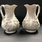 Antique Pair Of Large Bisque Porcelain Ivory Color And Gold Trim Pitchers 453/2