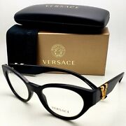 New Versace Reading Glasses Ve 3282 Gb1 51-19 Black And Gold Cateye Frames Readers