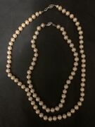 Lot 2 Vtg Antique Glass Simulated Pearl Graduated Bead Chokers Necklaces Strands