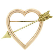 Retro Vintage 14k Rose Gold Open Heart And Green Gold Arrow Brooch Pin
