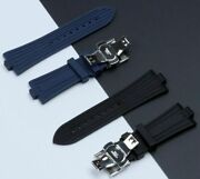 25x9 Mm Black Blue Soft Rubber Silicone Watch Band For Vacheron Constantin Vc
