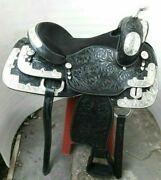 Western Saddle Fully Show Saddle With Silver Corner Conchos All Size