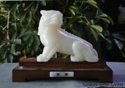 China Natural 100 White Jade Carving Feng Shui Brave Troops Pixiu Beast Statue