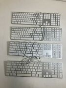 Lot Of 4 Genuine Apple A1243 Wired Aluminum Keyboard With Numeric Keypad Usb