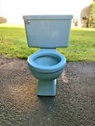 Vintage 1970and039s Blue Toilet Bowl And Tank Briggs 15 High Round Bowl