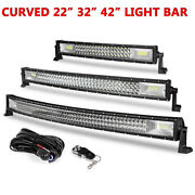 42/32/22 Curved Tri Row Led Light Bar Driving Truck Suv Boat Offroad 459w/594w