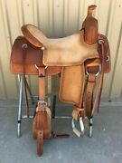 Western Natural And Brown Leather Strip Down Roper Ranch Cutter Saddle 14 To 18