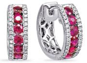 1.13ct Diamond And Aaa Ruby 14kt White Gold Classic 3 Row Huggie Hanging Earrings